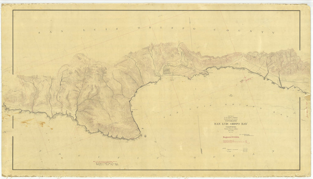 18 x 24 inch 1872 US old nautical map drawing chart of San Luis Obispo Bay From  U.S. Coast Survey x2060