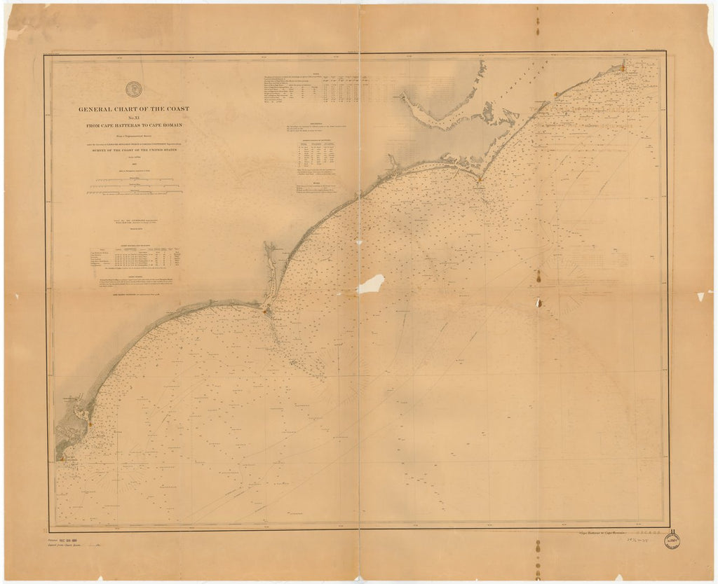 18 x 24 inch 1888 North Carolina old nautical map drawing chart of GENERAL CHART OF THE COAST NO. XI. FROM CAPE HATTERAS TO CAPE ROMAIN From  US Coast & Geodetic Survey x7220