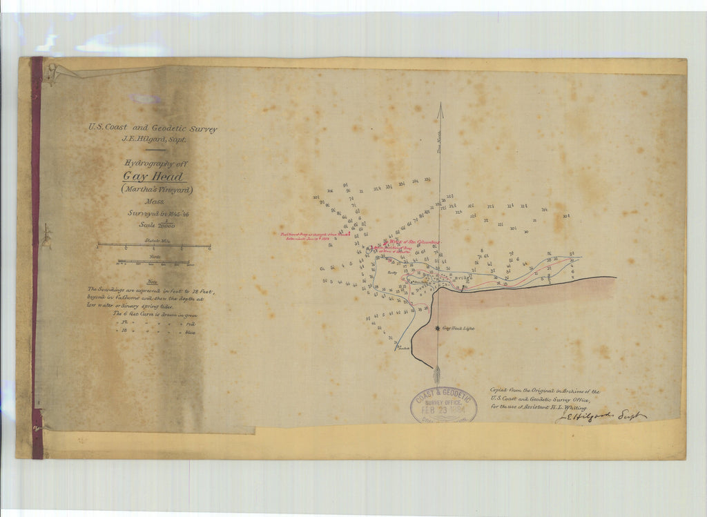 18 x 24 inch 1846 US old nautical map drawing chart of Hydrography of Gay Head Martha's Vineyard From  U.S. Coast Survey x2697