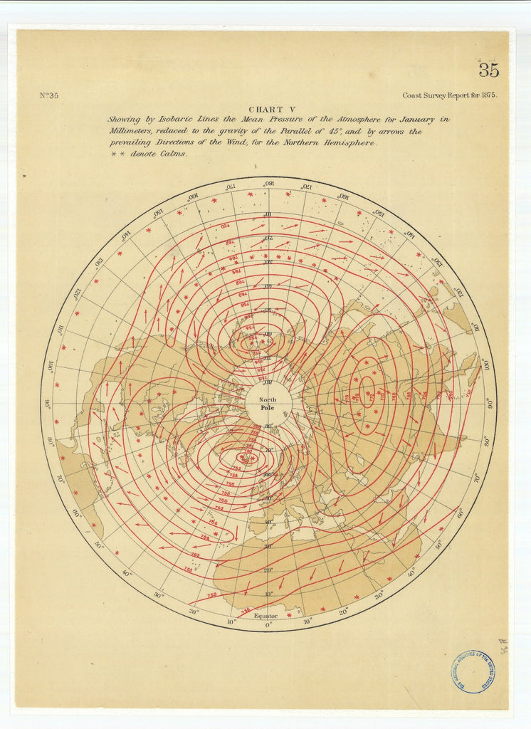 18 x 24 inch 1875 Nevada old nautical map drawing chart of Chart 5 Showing by Isobaric Lines the Mean Pressure of the Atmosphere for January in Millimeters From  U.S. Coast Survey x6700