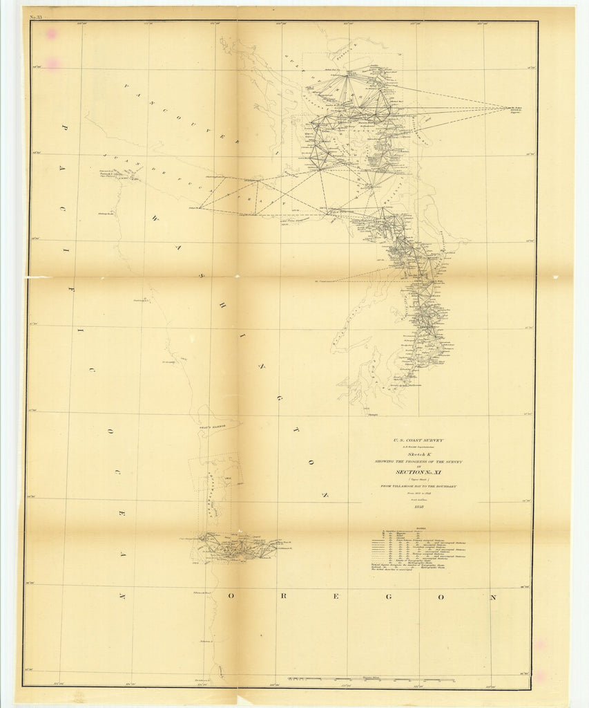 18 x 24 inch 1858 Oregon old nautical map drawing chart of Sketch K Showing the Progress of the Survey in Section Number 11, Upper Sheet from Tillamook Bay to the Boundary from 1851 to 1858 From  U.S. Coast Survey x9339