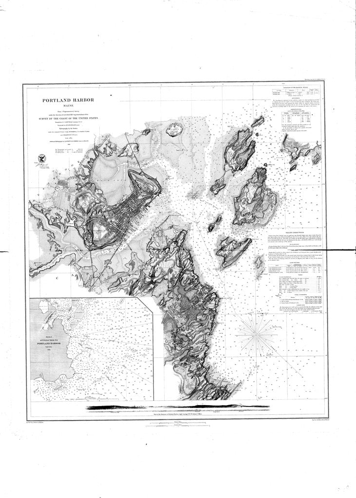 18 x 24 inch 1862 US old nautical map drawing chart of Portland Harbor From  US Coast & Geodetic Survey x4819