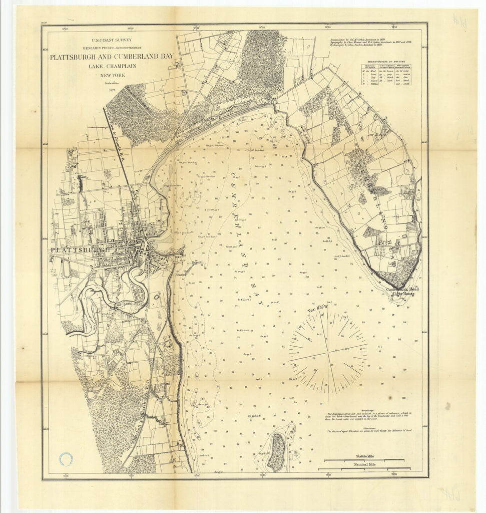 18 x 24 inch 1873 New York old nautical map drawing chart of Plattsburgh and Cumberland Bay, Lake Champlain, New York From  U.S. Coast Survey x6895