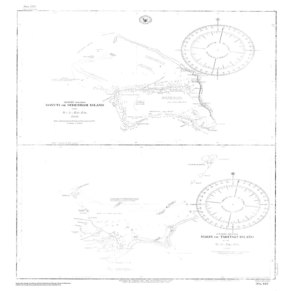 18 x 24 inch 1878 OTHER old nautical map drawing chart of Navigation Chart for Gilbert Islands, Makin or Taritari Island From  US Ex. Ex. x7328