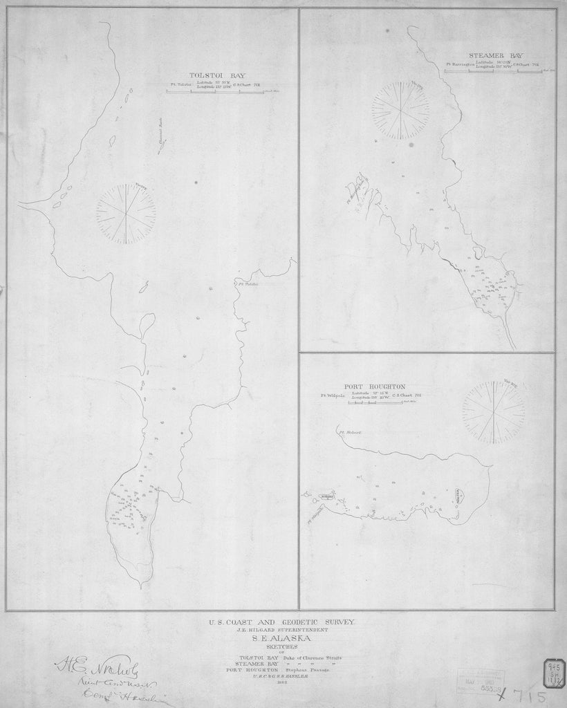 18 x 24 inch 1882 US old nautical map drawing chart of SKETCHES OF TOLSTOI BAY STEAMER BAY PORT HOUGHTON From  US Coast & Geodetic Survey x870