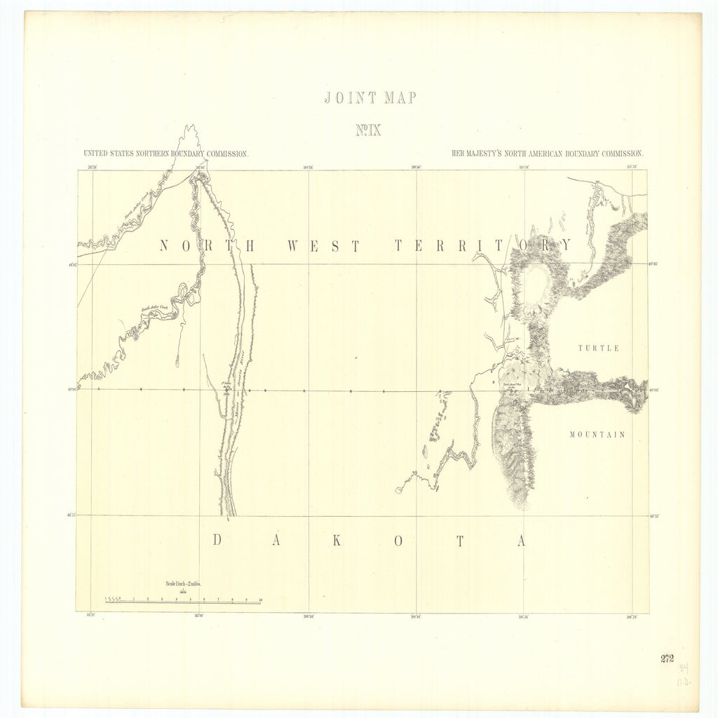 18 x 24 inch 1878 OTHER old nautical map drawing chart of Joint Maps of the Northern Boundary of the United States from the Lake of the Woods to the Summit of the Rocky Mountains From  NORTH AMERICAN BOUNDARY COMMISSION x7336