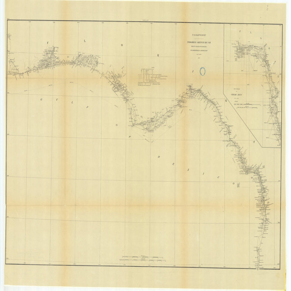 18 x 24 inch 1877 US old nautical map drawing chart of Progress Sketch, Section 7, West Coast of Florida, St. Joseph's Bay to Mobile Bay with Sub Sketch of Cedar Keys From  U.S. Coast Survey x2577
