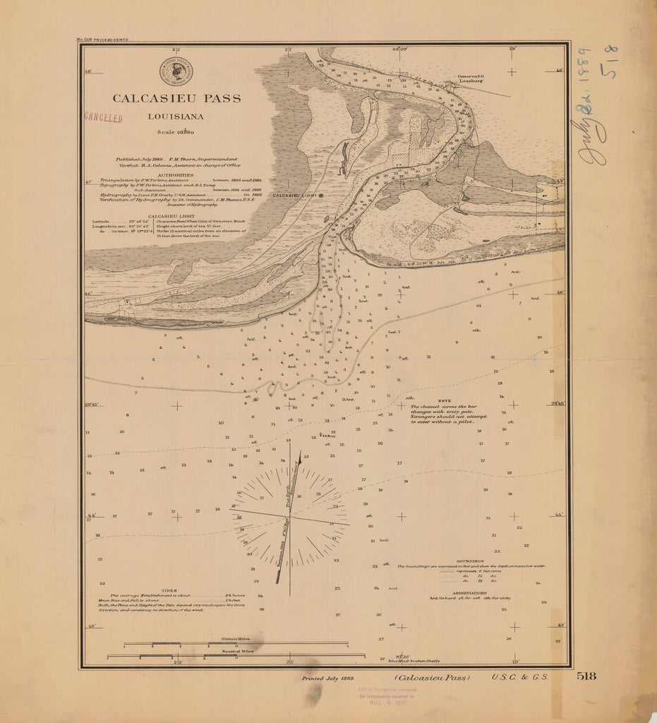 18 x 24 inch 1889 US old nautical map drawing chart of CALCASIEU PASS From  US Coast & Geodetic Survey x2400