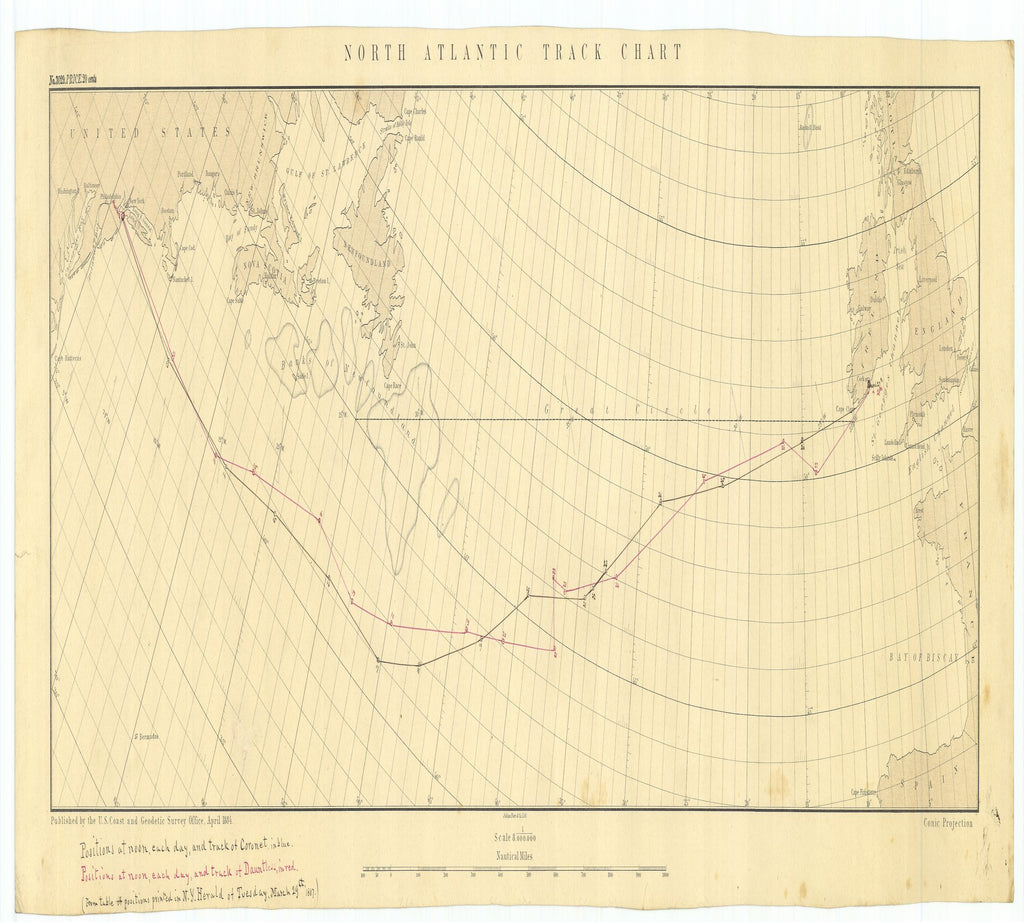 18 x 24 inch 1884 New Jersey old nautical map drawing chart of North Atlantic Track Chart From  US Coast & Geodetic Survey x7501