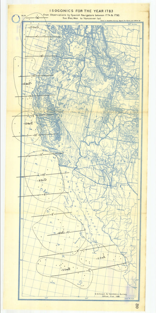 18 x 24 inch 1886 USA old nautical map drawing chart of 30. To Appendix No. 12. Isogonics for the year 1783 from observations by Spanish naviga- From  US Coast & Geodetic Survey x12108