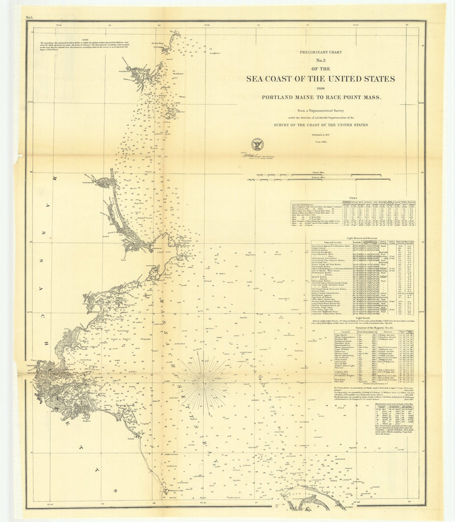 18 x 24 inch 1857 US old nautical map drawing chart of Preliminary Chart Number 3 of the Sea Coast of the United States from Portland, Maine to Race Point, Massachusetts From  U.S. Coast Survey x5308