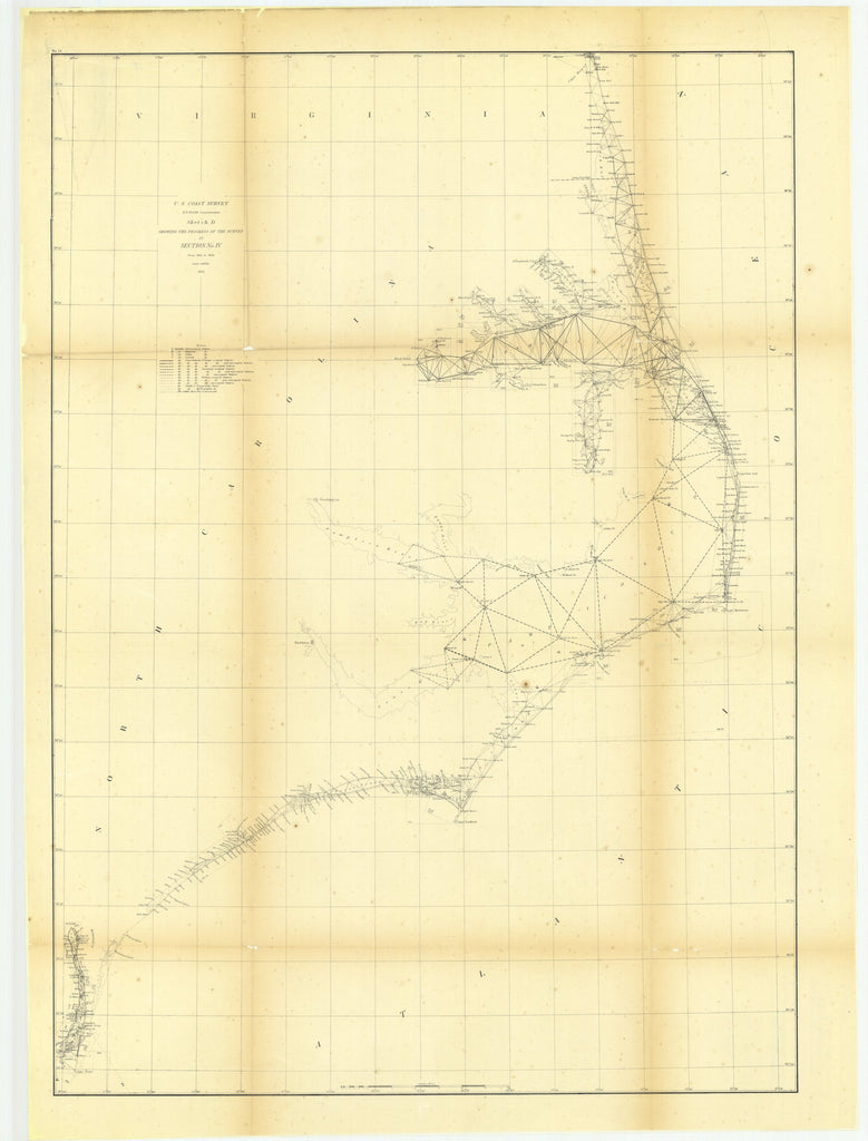 18 x 24 inch 1856 North Carolina old nautical map drawing chart of Sketch D Showing the Progress of the Survey in Section Number 4 from 1845 to 1856 From  U.S. Coast Survey x7172