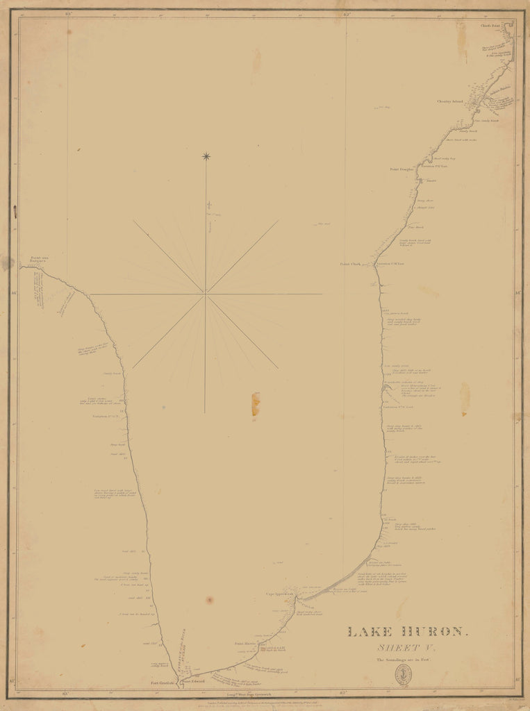 18 x 24 inch 1828 US old nautical map drawing chart of LAKE HURON From  Lake Survey x4186