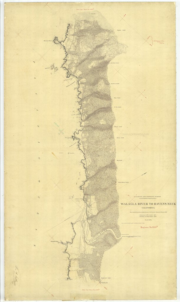 18 x 24 inch 1880 US old nautical map drawing chart of Walalla River to Havens Neck From  US Coast & Geodetic Survey x2428