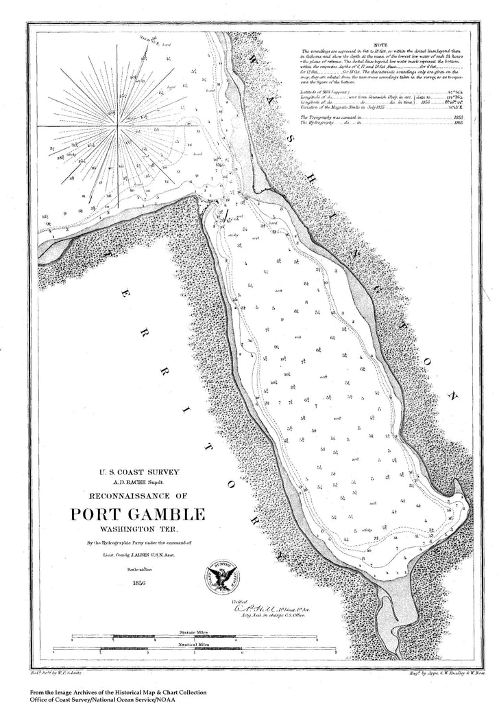 18 x 24 inch 1856 Washington old nautical map drawing chart of Reconnaissance of Port Gamble From  U.S. Coast Survey x8498