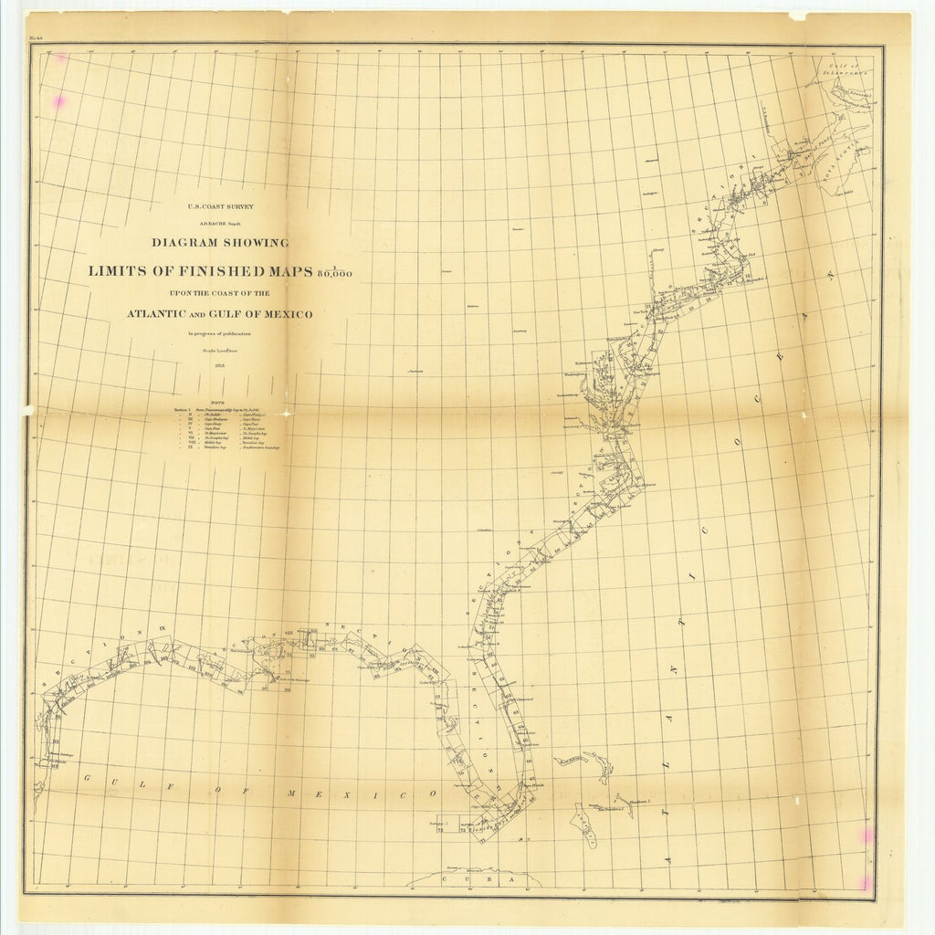 18 x 24 inch 1858 US old nautical map drawing chart of Diagram Showing Limits of Finished Maps upon the Coast of the Atlantic and Gulf of Mexico From  U.S. Coast Survey x2254