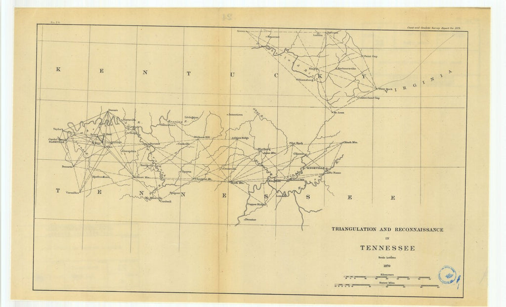 18 x 24 inch 1879 US old nautical map drawing chart of Triangulation and Reconnaissance in Tennessee From  U.S. Coast Survey x991