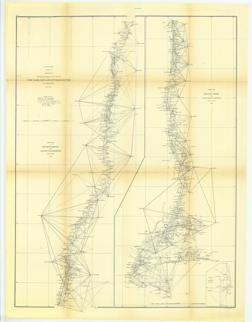 18 x 24 inch 1861 New York old nautical map drawing chart of Sketch B Number 2 Showing the Progress of the Survey of New York Bay and Hudson River from 1851 to 1861 with Lower Part of Hudson River from Sandy Hook to Kingston From  U.S. Coast Survey x7661