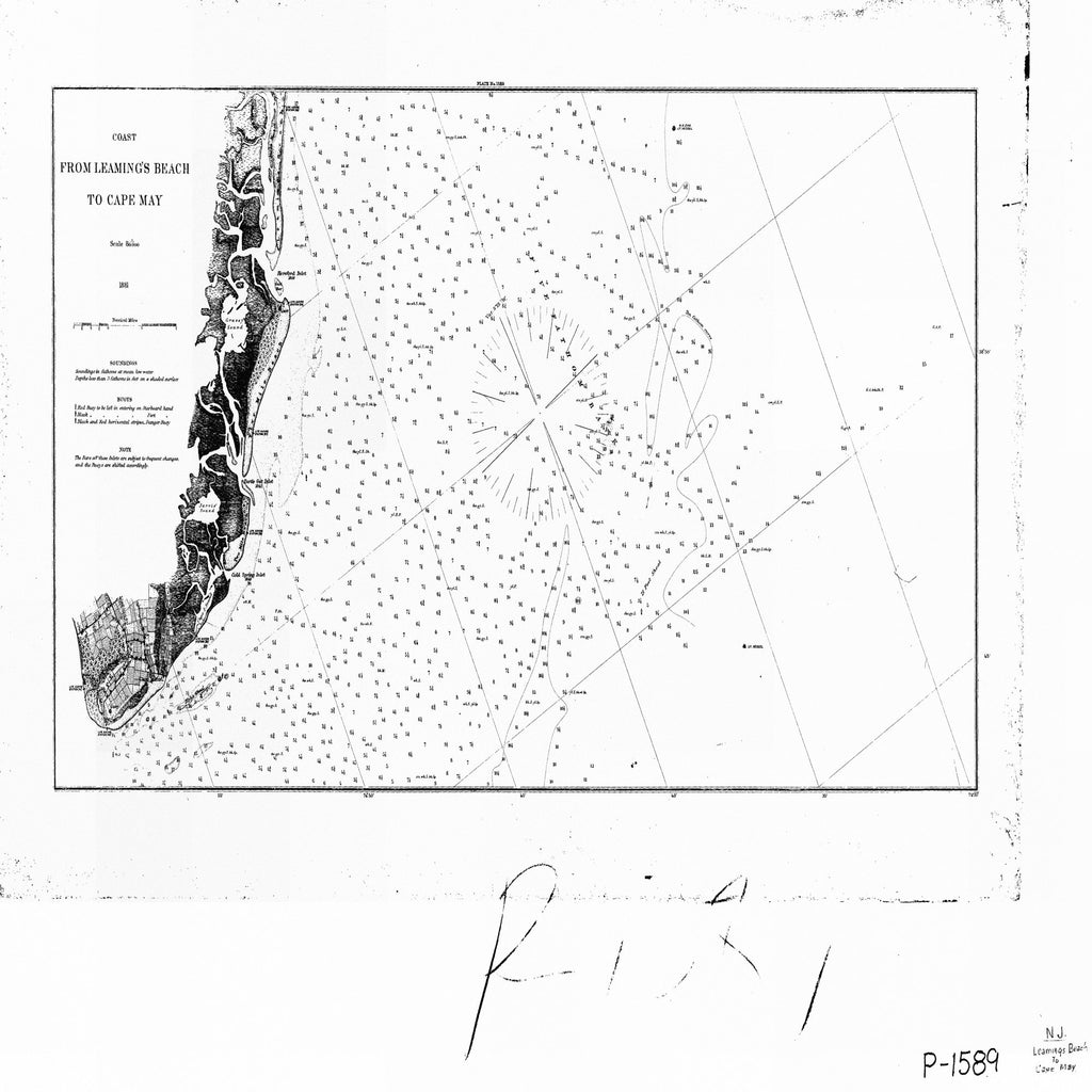 18 x 24 inch 1881 New Jersey old nautical map drawing chart of COAST FROM LEAMINGS BEACH TO CAPE MAY From  U.S. Coast Survey x6635