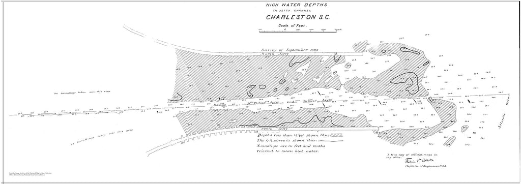 18 x 24 inch 1895 South Carolina old nautical map drawing chart of Charleston, SC From  NOAA x7553