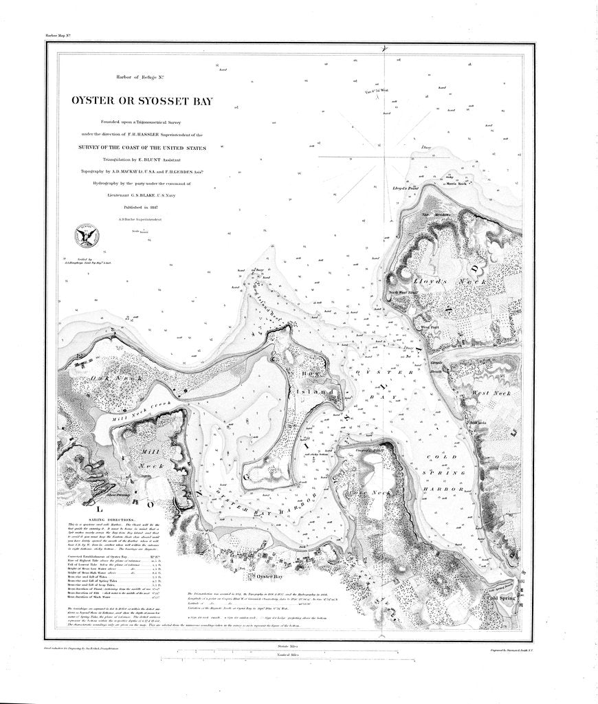 18 x 24 inch 1847 New York old nautical map drawing chart of Oyster or Syosset Bay From  U.S. Coast Survey x6929