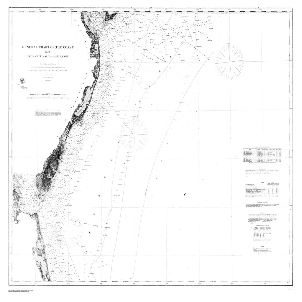 18 x 24 inch 1862 US old nautical map drawing chart of Coast from Cape May to Cape Henry From  U.S. Coast Survey x4509