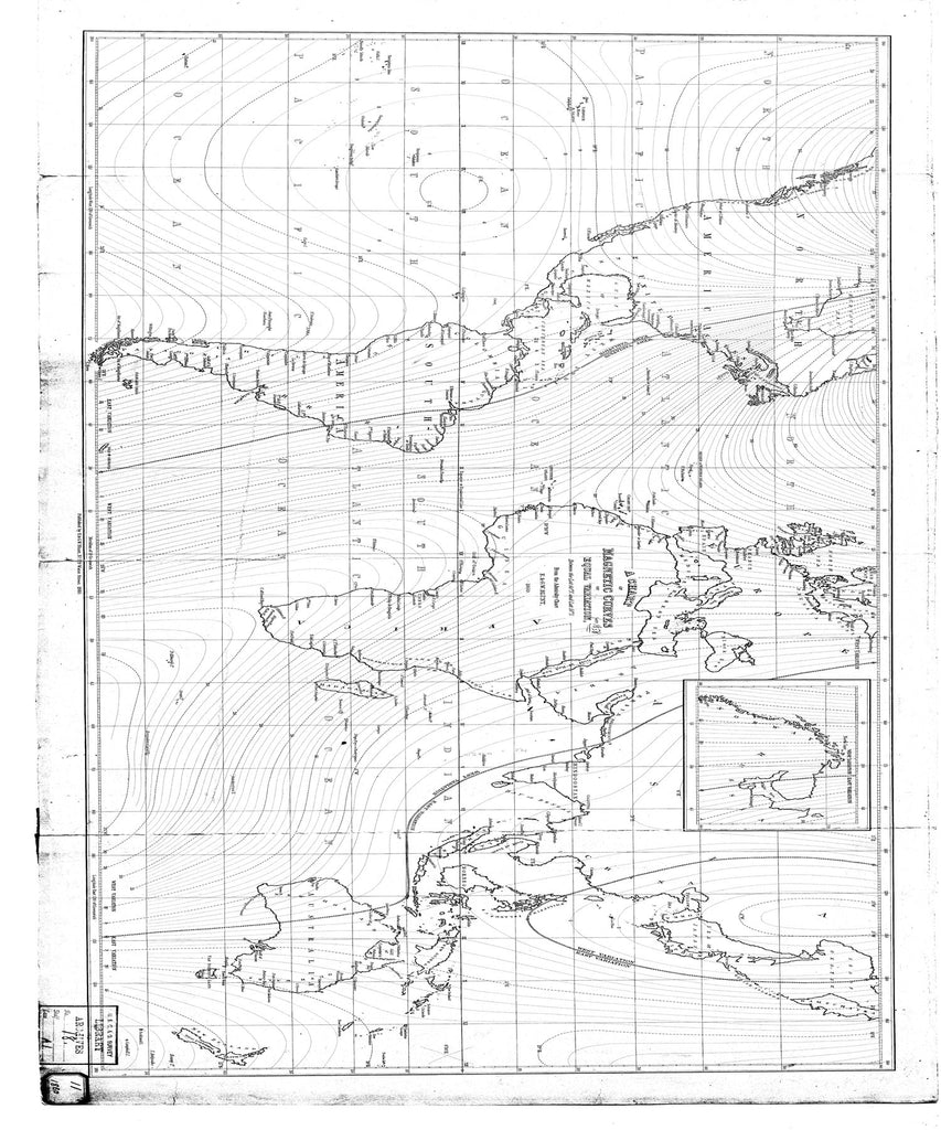 18 x 24 inch 1860 WORLD old nautical map drawing chart of Chart of Magnetic Curves of the World From  Blunt x11825