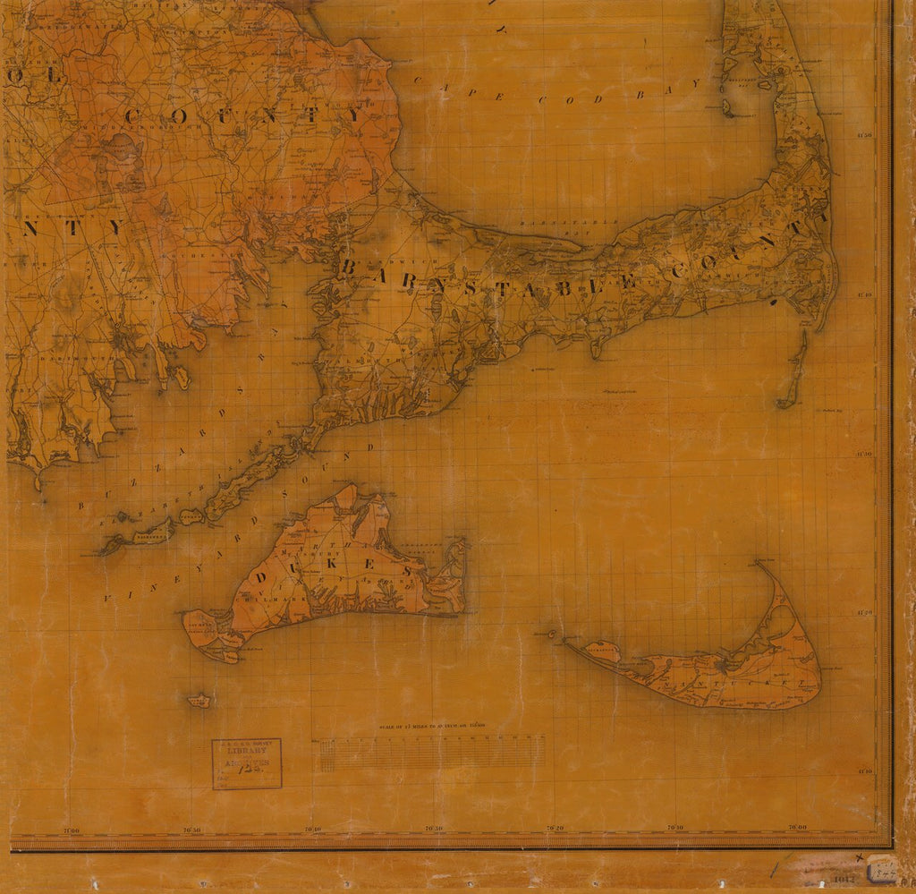 18 x 24 inch 1844 US old nautical map drawing chart of TOPOGRAPHICAL MAP OF MASSACHUSETTS SHEET NO. 1 From  : NOAA x3911
