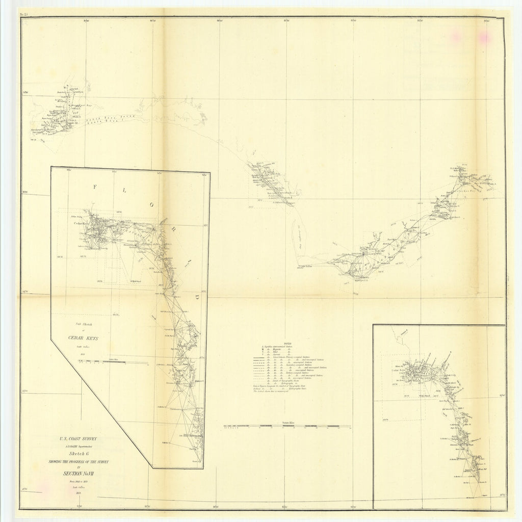 18 x 24 inch 1859 US old nautical map drawing chart of Sketch G Showing the Progress of the Survey in Section Number 7 from 1849 to 1859 with Sub Sketch of Cedar Keys From  U.S. Coast Survey x3197
