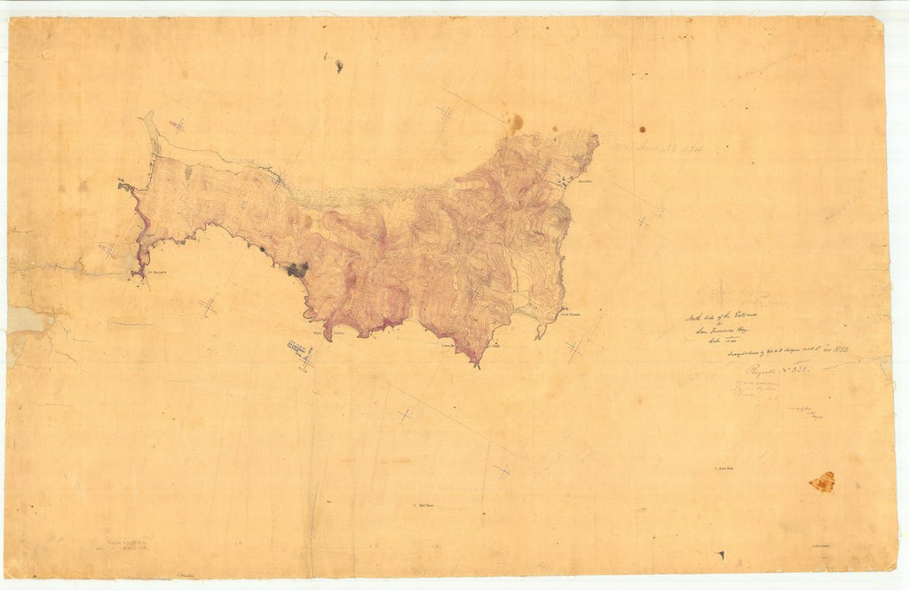 18 x 24 inch 1850 US old nautical map drawing chart of North Side of the Entrance to San Francisco Bay, CA From  U.S. Coast Survey x1255