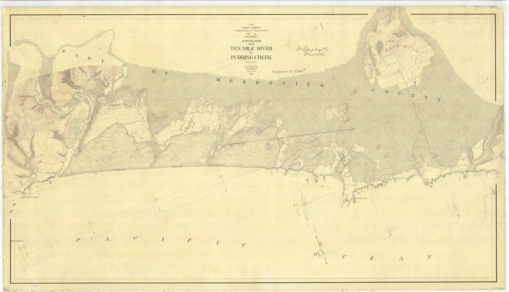 18 x 24 inch 1874 US old nautical map drawing chart of From Ten Mile River to Pudding Creek From  U.S. Coast Survey x485