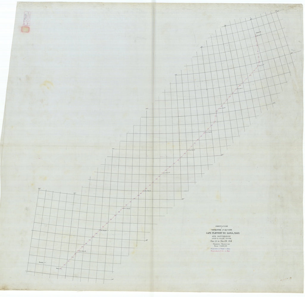18 x 24 inch 1912 USA old nautical map drawing chart of Observations of Temperatures of Sea Water Cape Flattery to Hana Maui From  US Coast & Geodetic Survey x12025