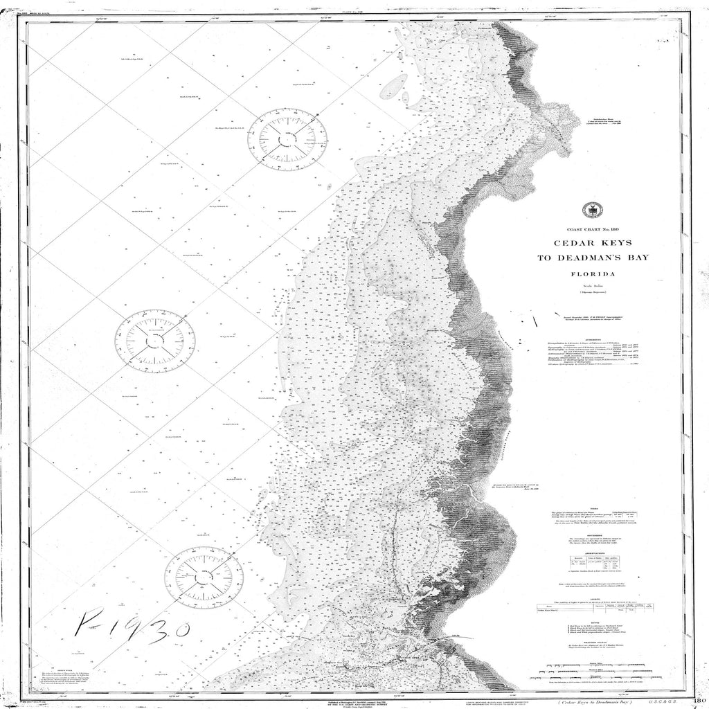 18 x 24 inch 1887 US old nautical map drawing chart of Navigation Chart for Cedar Keys to Deadman's Bay From  C&GS x2135