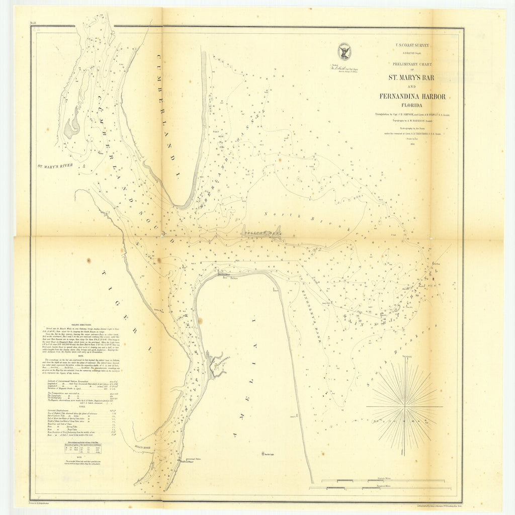18 x 24 inch 1856 US old nautical map drawing chart of Preliminary Chart of Saint Mary's Bar and Fernandina Harbor, Florida From  U.S. Coast Survey x1286