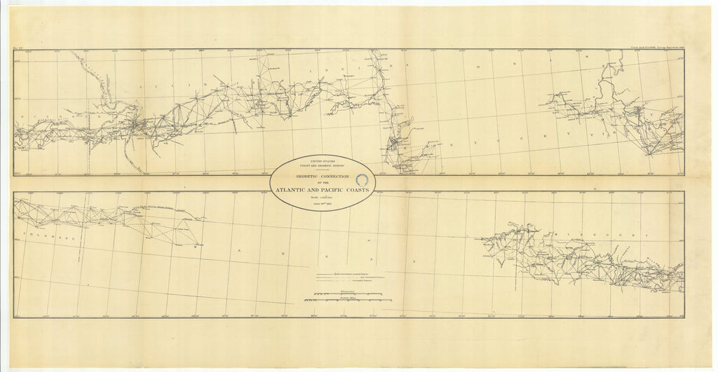18 x 24 inch 1883 US old nautical map drawing chart of Geodetic Connection of the Atlantic and Pacific Coasts, Illinois and Missouri with Continuation Eastward and Continuation Westward From  US Coast & Geodetic Survey x2652