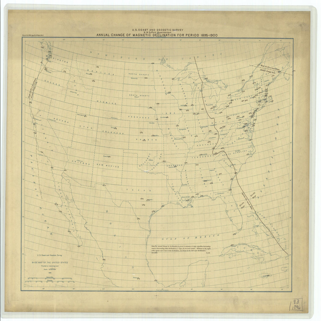 18 x 24 inch 1896 North Dakota old nautical map drawing chart of Annual Change of Magnetic Declination for Period 1895 - 1900 From  US Coast & Geodetic Survey x6620