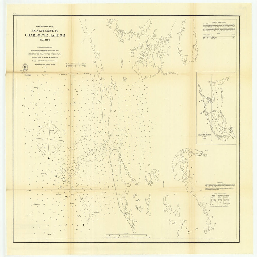 18 x 24 inch 1863 US old nautical map drawing chart of Preliminary Chart of Main Entrance to Charlotte Harbor, Florida with Sketch of Charlotte Harbor, Florida From  U.S. Coast Survey x1718
