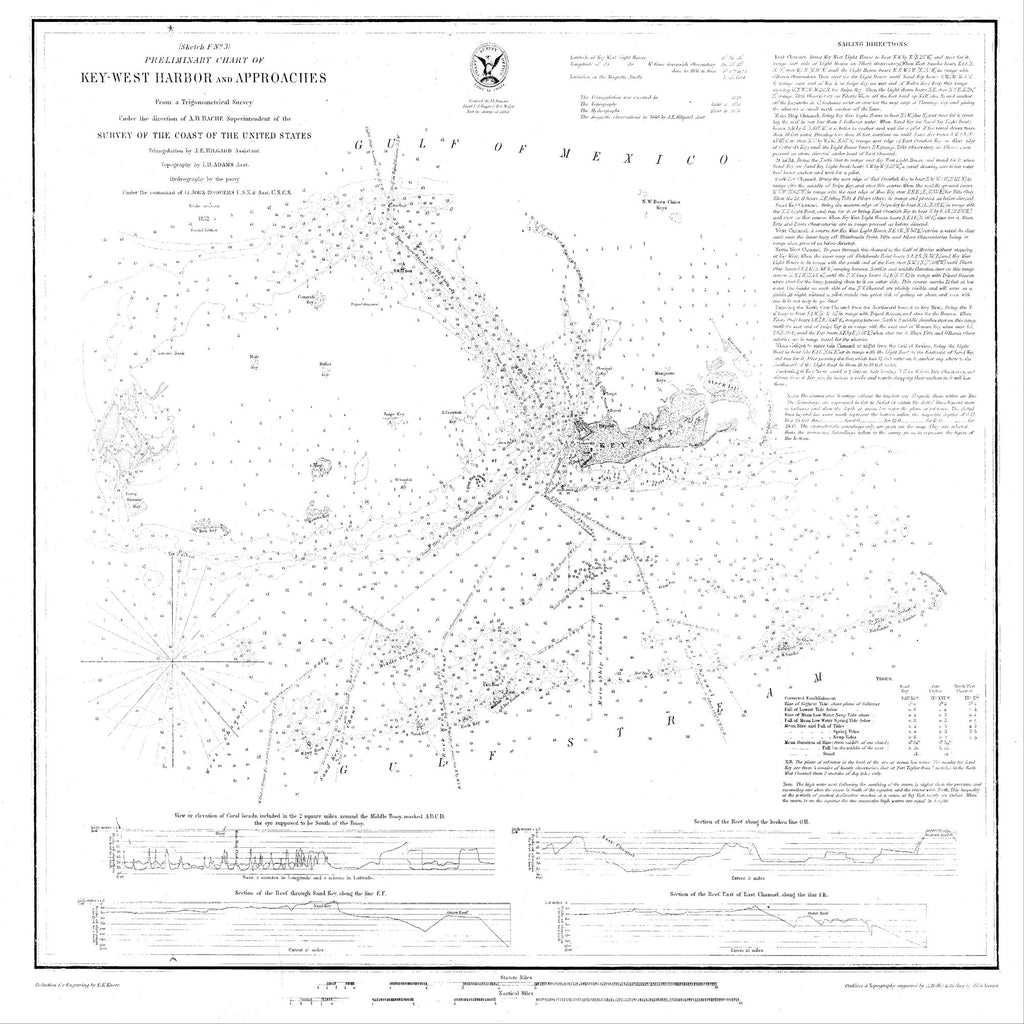 18 x 24 inch 1852 US old nautical map drawing chart of Preliminary Chart of Key West and Approaches From  U.S. Coast Survey x2511