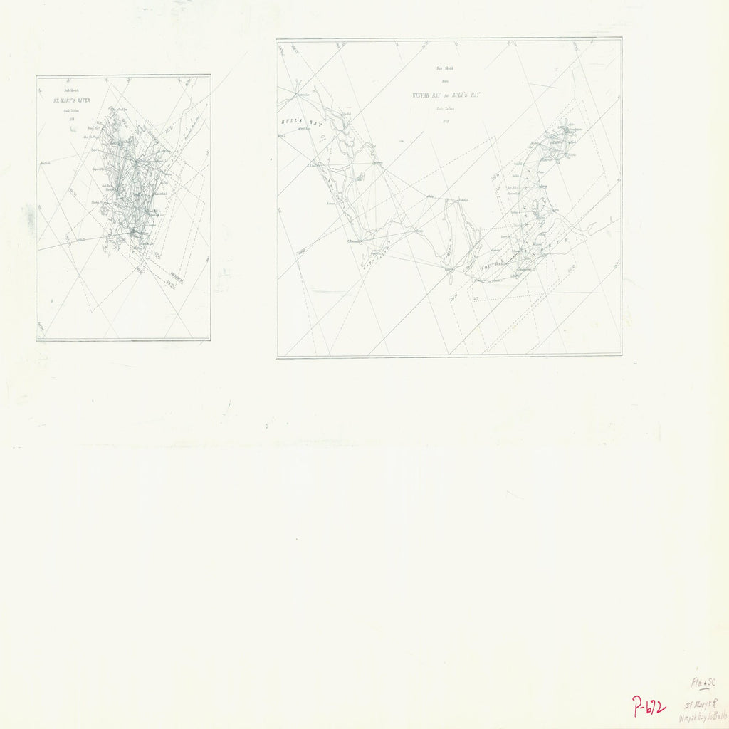 18 x 24 inch 1858 US old nautical map drawing chart of ST MARYS RIVER WINYAH BAY TO BULLS From  NOAA x2526
