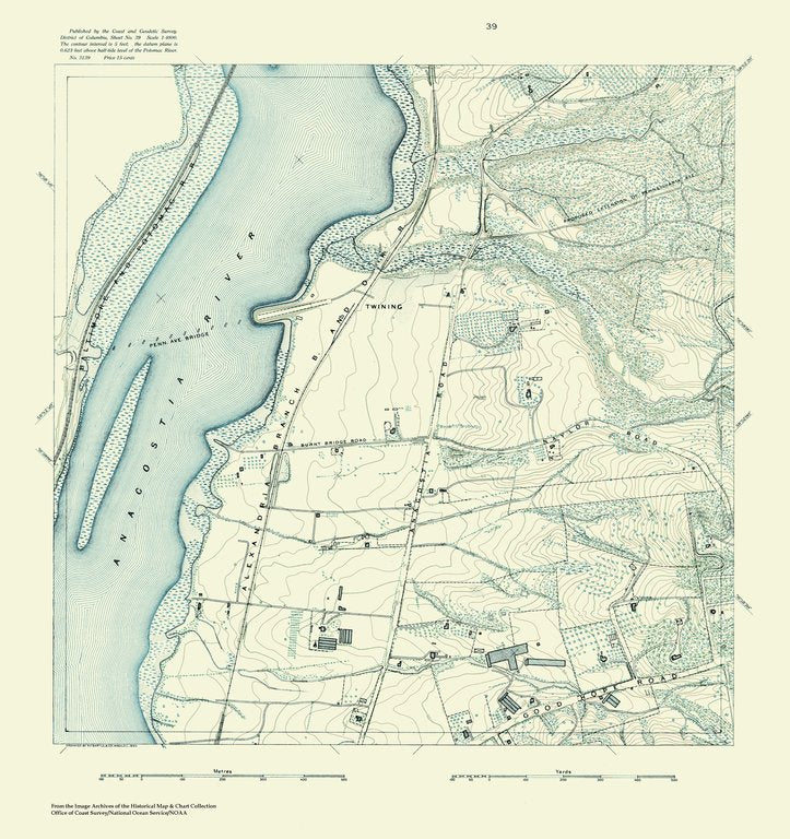 18 x 24 inch 1888 US old nautical map drawing chart of Topographic Map of Washington and Vicinity, Sheet 39 From  NOAA x382