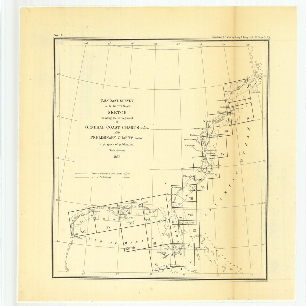 18 x 24 inch 1857 US old nautical map drawing chart of Sketch Showing the Arrangement of General Coast Charts and Preliminary Charts in Progress of Publication From  U.S. Coast Survey x5646