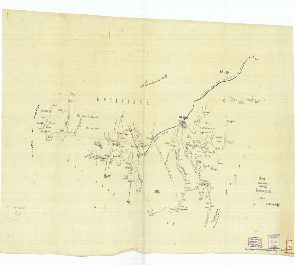 18 x 24 inch 1854 US old nautical map drawing chart of Reconnaissance 1853 1854 From  U.S. Coast Survey x3123