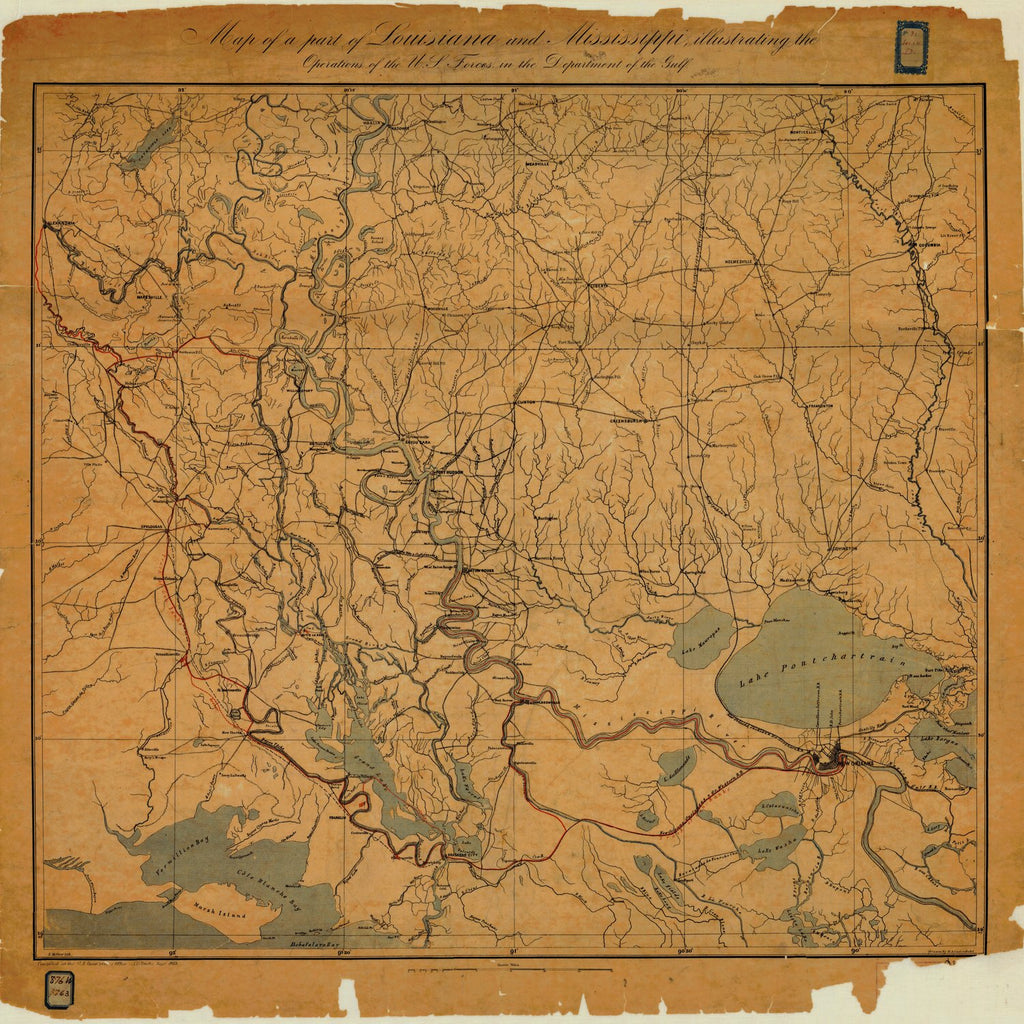 18 x 24 inch 1863 Mississippi old nautical map drawing chart of MAP OF A PART OF LOUISIANA AND MISSISSIPPI From  U.S. Coast Survey x6361