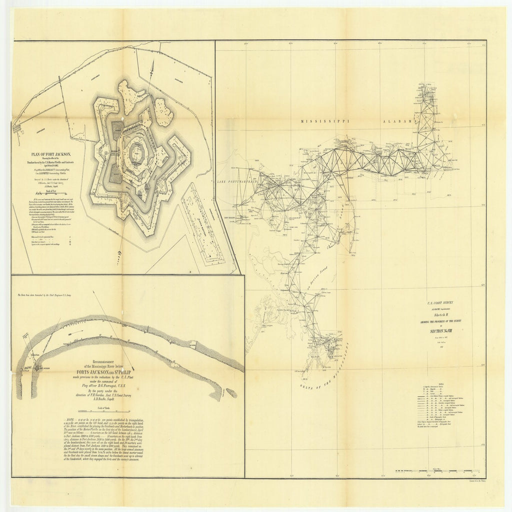 18 x 24 inch 1861 Mississippi old nautical map drawing chart of Sketch H Showing the Progress of the Survey in Section Number 8, From 1846 to 1861 From  U.S. Coast Survey x6385