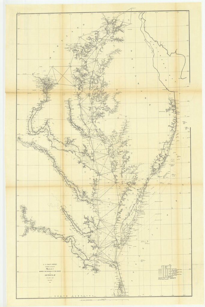 18 x 24 inch 1863 US old nautical map drawing chart of Sketch C Showing the Progress of the Survey in Section Number 3 from 1843 to 1863 From  U.S. Coast Survey x1915