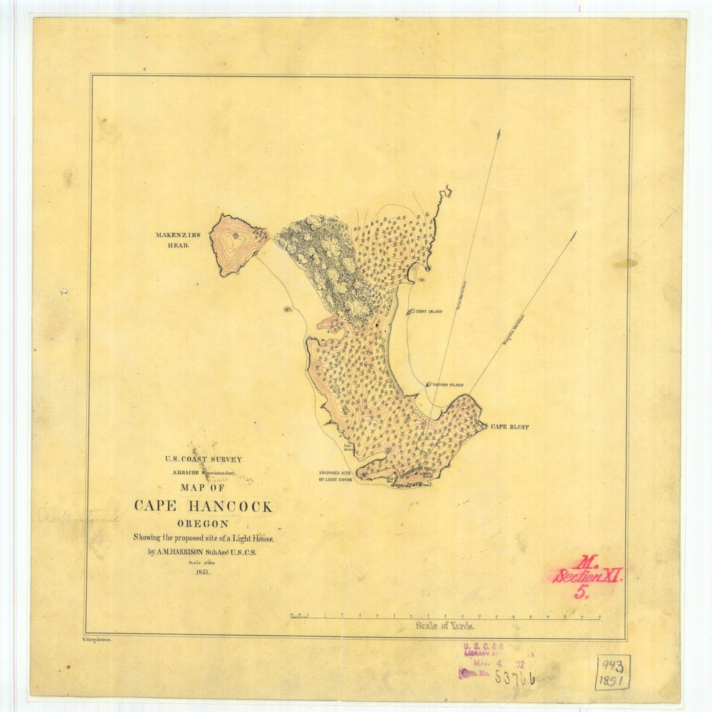 18 x 24 inch 1851 Oregon old nautical map drawing chart of Map of Cape Hancock Oregon From  U.S. Coast Survey x6499