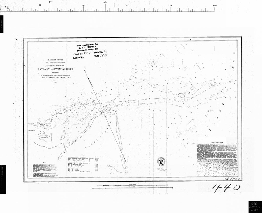 18 x 24 inch 1851 US old nautical map drawing chart of ENTRANCE OF SAVANNAH RIVER From  US Coast & Geodetic Survey x312