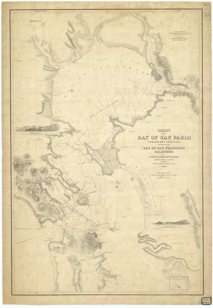 18 x 24 inch 1850 California old nautical map drawing chart of Chart of the Bay of San Pablo Straits of Carquines and part of the Bay of San Francisco California From  US Navy x7403