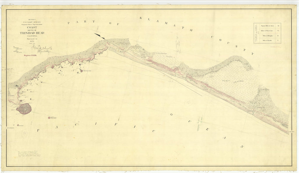 18 x 24 inch 1870 US old nautical map drawing chart of South of Trinidad Head From  U.S. Coast Survey x1712