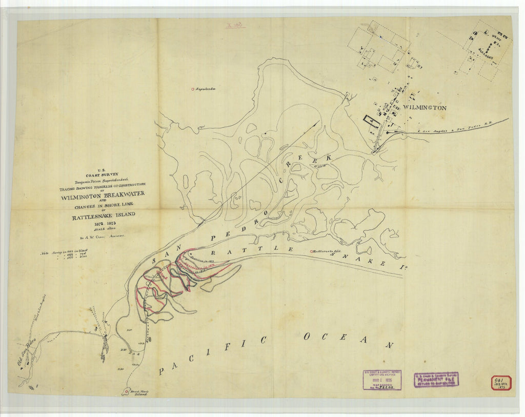 18 x 24 inch 1873 US old nautical map drawing chart of Tracing Showing Progress of Construction of Wilmington Breakwater and Changes in Shore Line of Rattlesnake Island From  U.S. Coast Survey x2071